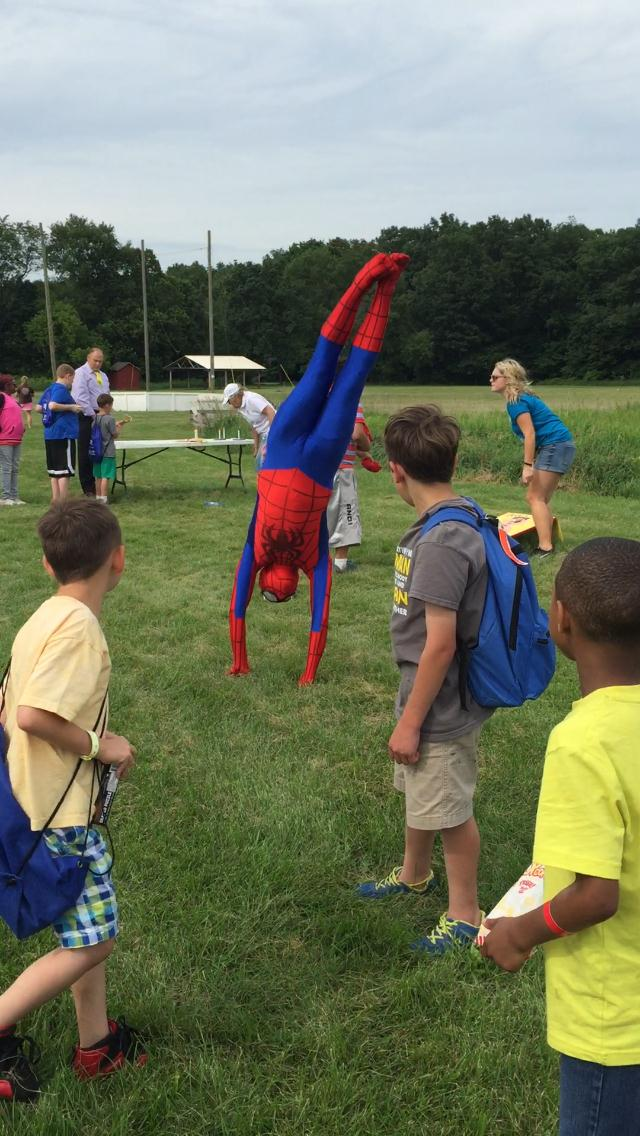 Evin performs as Spiderman at 2015 Camp Michitanki
